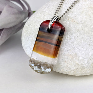 Red Amber Gray Landscape, Fused Glass Beach Necklace, Water Sunset Pendant