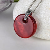 Ruby Red Disc, Fused Glass Necklace, Round Circle Dichroic Pendant
