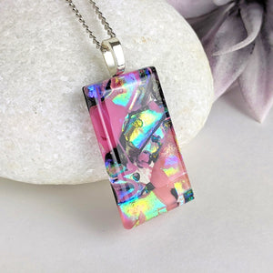 Pink Black Gold, Fused Glass Necklace, Dichroic Silver Pendant