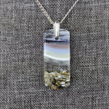 White Lavender Gray Landscape, Fused Glass Beach Necklace, Water Cloud Sky Pendant