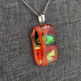 Red Orange Gold, Fused Glass Necklace, Dichroic Silver Pendant