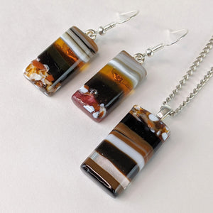 Amber Brown Gray White Stripe Fused Glass Pendant Earring Set