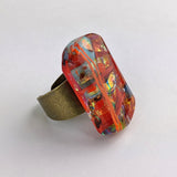 Red Copper Turquoise Statement Ring, Chunky Cocktail Big Bold Adjustable Fused Dichroic Glass Ring
