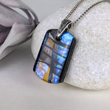 Black Amber Reflection, Fused Glass Necklace, Dichroic Silver Pendant