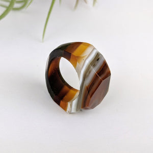 Dark Amber Faceted Statement Ring, Cocktail Ring, Hand Carved Chunky Ring, Modern Big Glass Ring