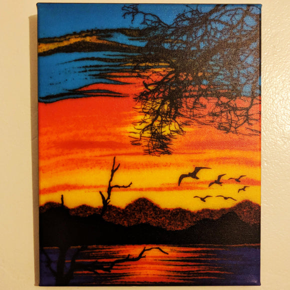 Silhouette Gulls - Giclée on Canvas