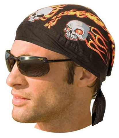 HW2611 Headwrap Flaming Skulls