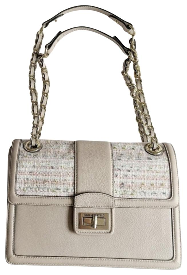 Tweed-Accented Leather Shoulder Bag