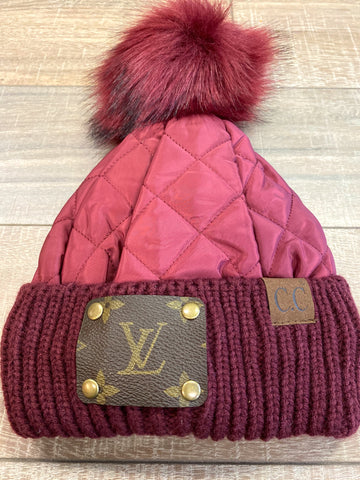 LV Pom Beanie-CC Quilted Burgundy