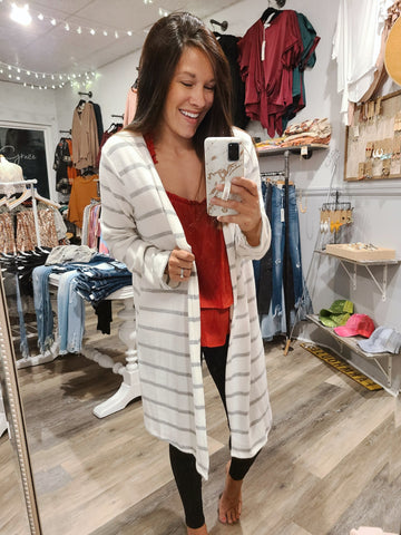 Ivory/Grey Stripped Cardigan