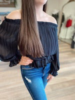 Quinn Off The Shoulder Pleated Top-Black