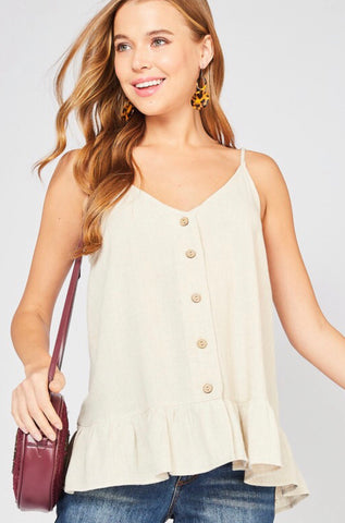 Oatmeal Button Tank