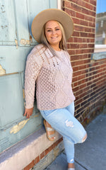 Pretty Crochet Pom Sweater-Mink
