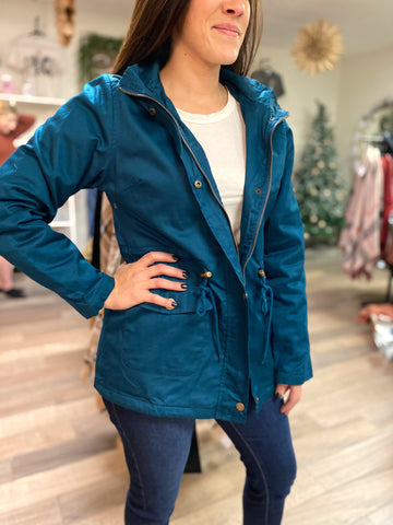 Kelsey Jacket With Fur Lining-Teal