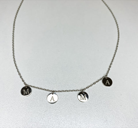 Silver Mama Coin Charm Necklace