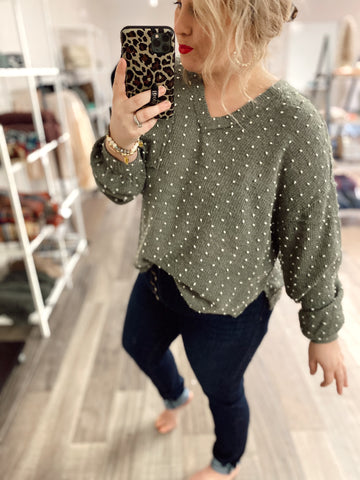 Swiss Dot V-Neck Top