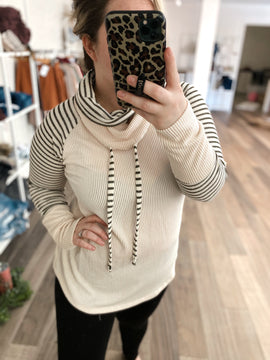 Jade Double Cowl Neck Top- Blush