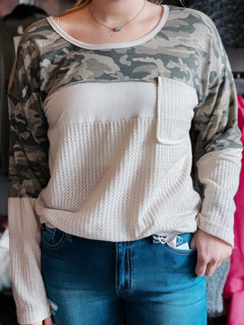 Camo and Comfort Top