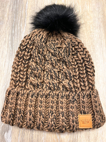 Brown & Black Pom Hat