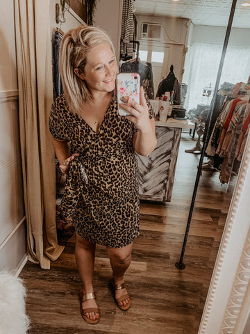 KHLOE LEOPARD PRINT WRAP DRESS