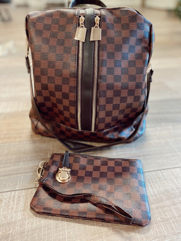 Daisy Brown Checkered Backpack