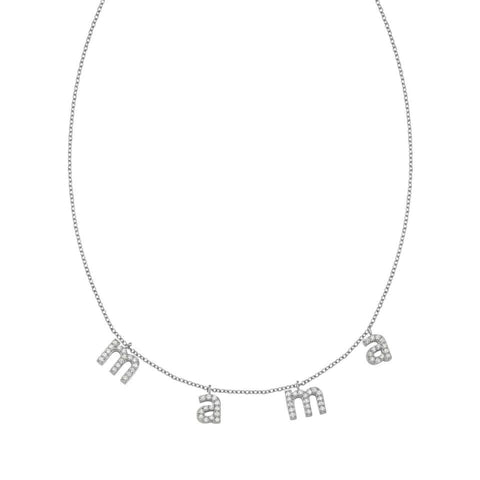 MAMA Silver with Crystals Lowercase Necklace