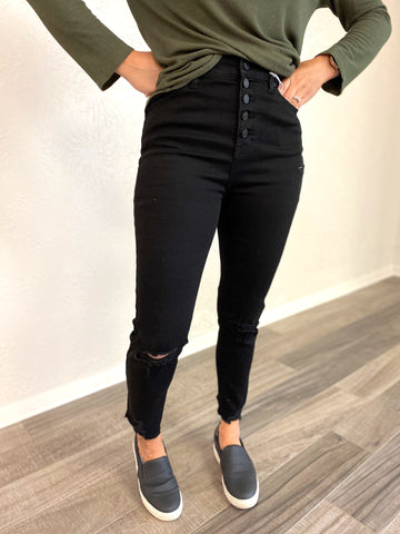 Shayna Button Down Black Jeans