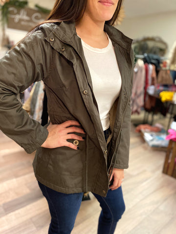 Kelsey Jacket With Fur Lining-Olive