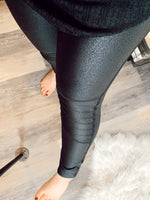 Get it Girl Faux Leather Leggings W/ Moto Ribbed-Knee