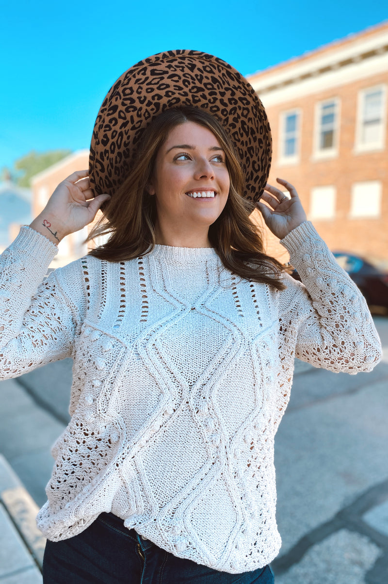 Pretty Crochet Pom Sweater-Buttercream