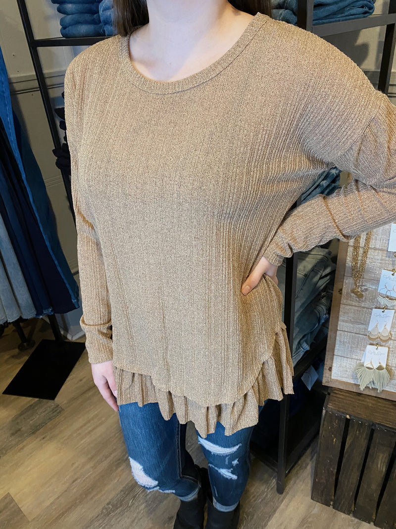 Marley Ribbed Top-Taupe