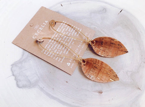 Pinched Gold Cork Leaf Drop Earrings