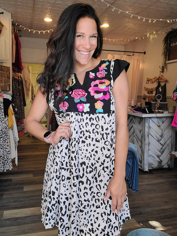 Fancy Floral and Leopard Dress