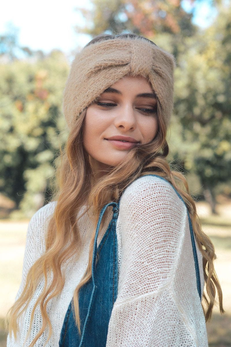 Soft and Fuzzy Headband-Khaki
