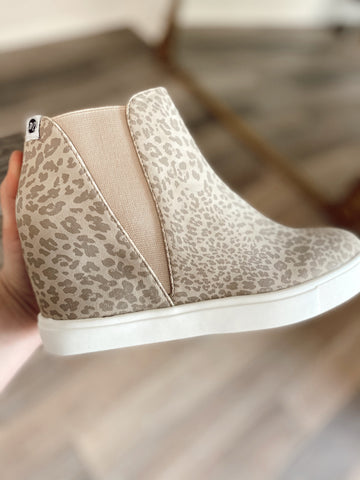 Taupe Leopard Lure Sneaker Wedge