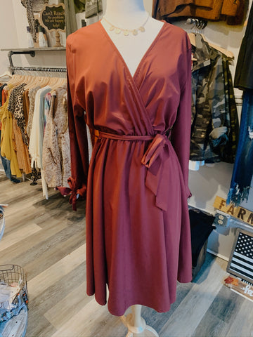 Burgundy Curvy Midi Dress
