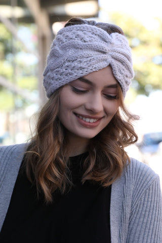 Cozy Cable Knit Headband-Ivory