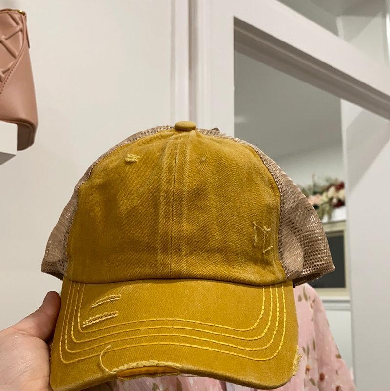 Mustard Washed Denim W/ Crossed Band Pony Cap