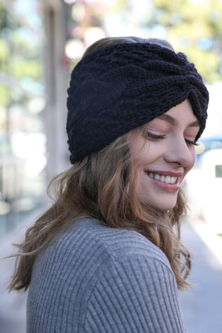 Cozy Cable Knit Headband-Black