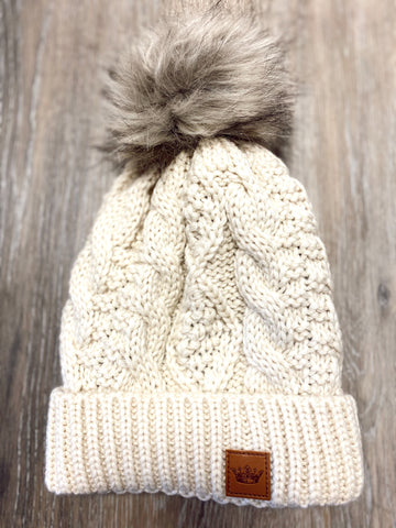 Cream Cable Knit Pom Hat