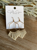 Suede Tassel Hexagon Earrings-Ivory
