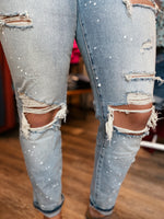 High Rise Paint Splatter Jeans