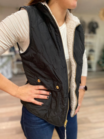 Cora Reversible Quilted Sherpa Vest-Black