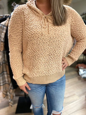 Whats Poppin Pullover Sweater-Taupe