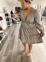 Ruffled Satin Dress- Cashmere