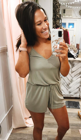 Just Right Romper-Sage