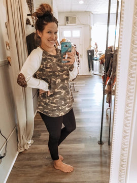 Waffle Knit Camo Top W/Sequin Elbow Patch