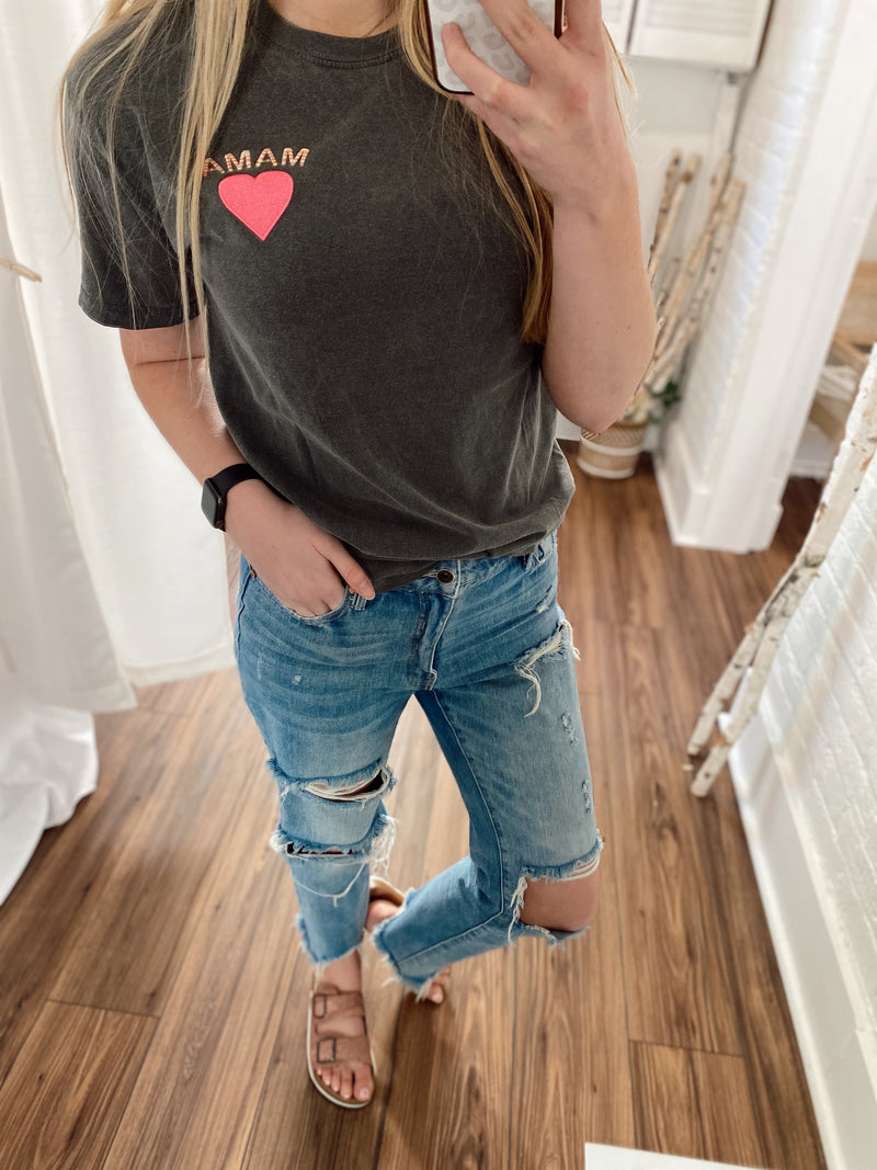Mama Heart Embroidered Tee