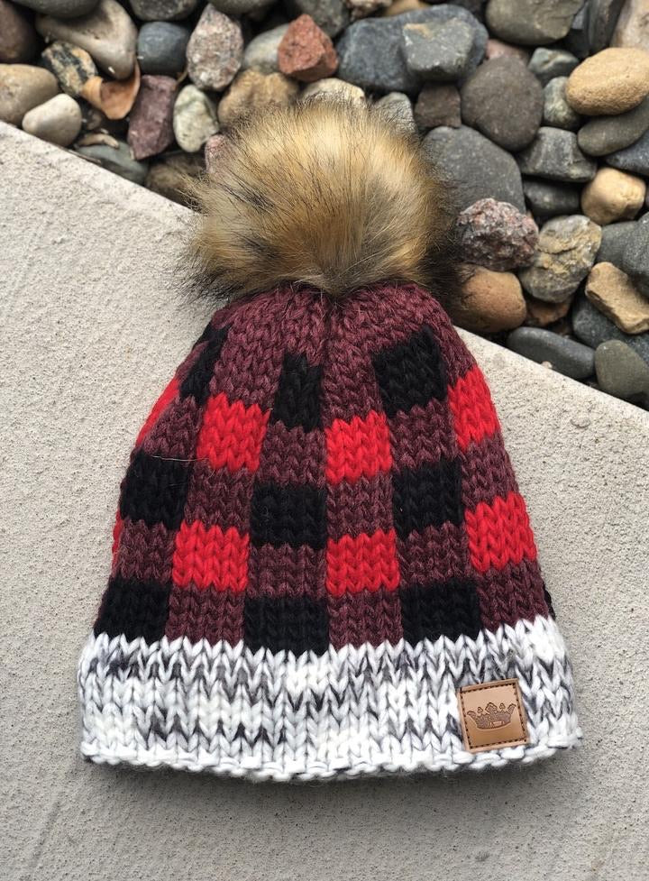 Infant Red Buffalo Plaid Pom Hat