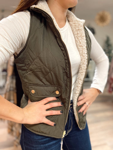 Cora Reversible Quilted Sherpa Vest-Olive